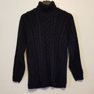 Talbots black mixed-cable knit cotton turtleneck